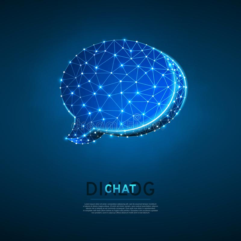Diálogo, nube de la charla Ejemplo digital 3d de Wireframe Comunicación polivinílica baja de la gente de la tecnología Vector de  stock de ilustración