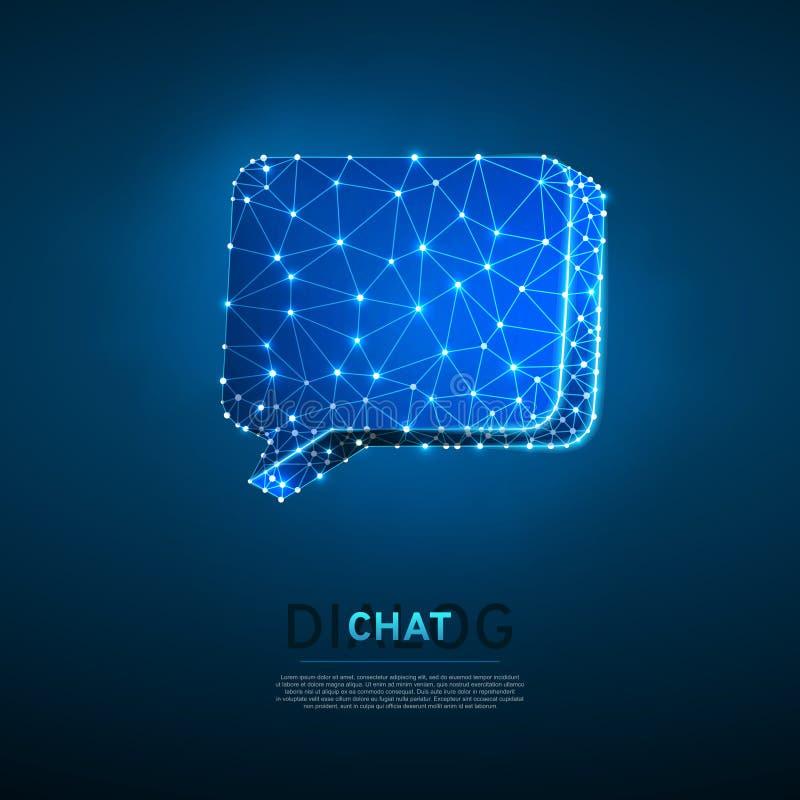 Diálogo, nube de la charla Ejemplo digital 3d de Wireframe Comunicación polivinílica baja de la gente de la tecnología Vector de  ilustración del vector