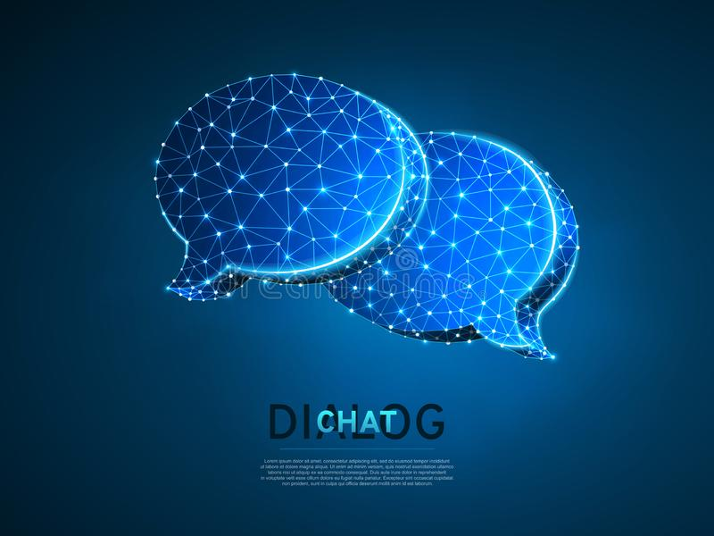 Diálogo, nubes de la charla Ejemplo digital 3d de Wireframe Comunicación polivinílica baja de la gente de la tecnología Vector de libre illustration
