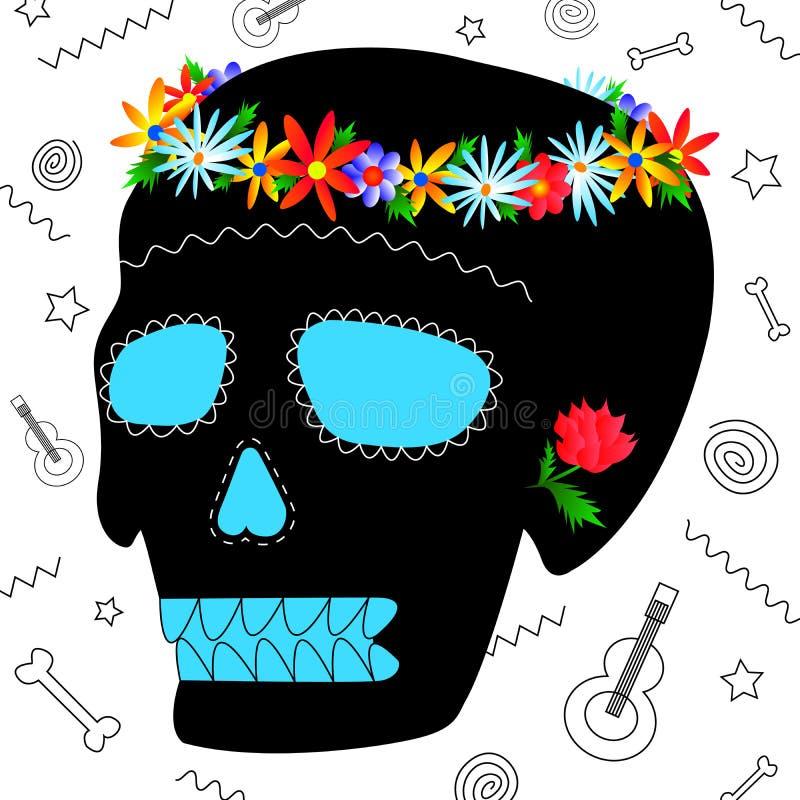 Diámetro mexicano de los muertos Day del carnaval del concepto muerto libre illustration