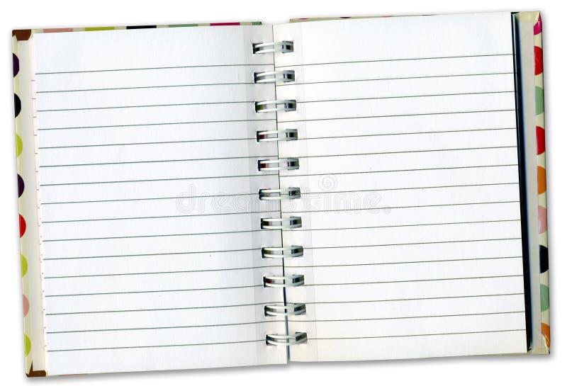 Diário do caderno dentro das páginas fotografia de stock