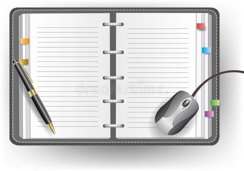 Diário do escritório com linha, pena de ballpoint, e rato ilustração do vetor