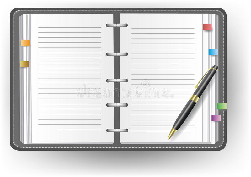 Diário do escritório sem a linha, a pena de ballpoint, e o rato ilustração royalty free