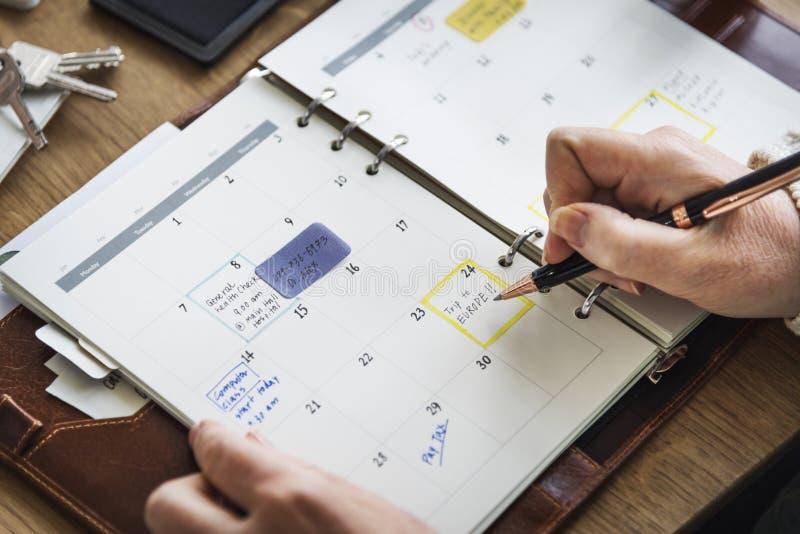 Diário do memorando da programação para fazer o conceito da lista fotografia de stock