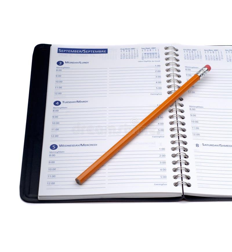 Diário e lápis imagem de stock royalty free