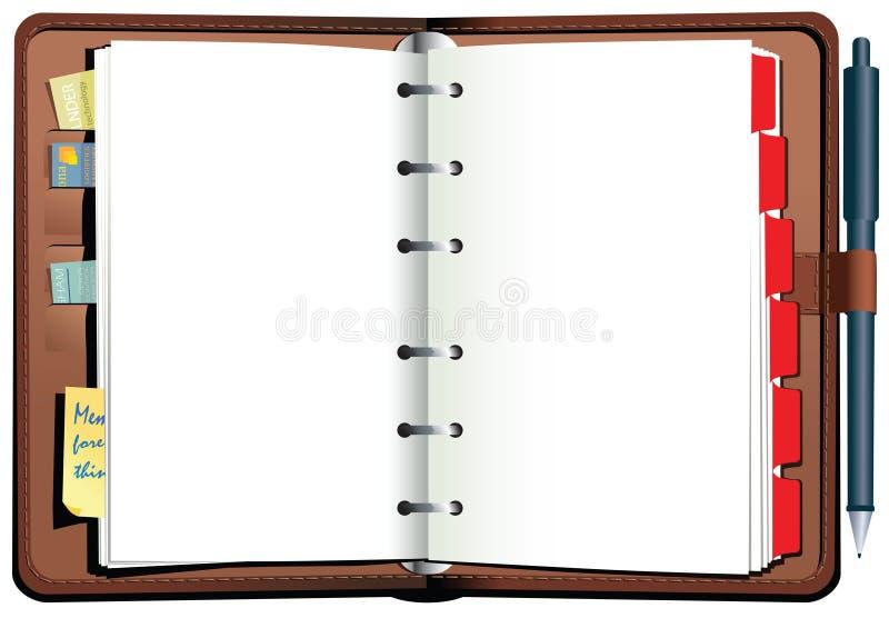 Diário encadernado da mesa do couro ilustração stock