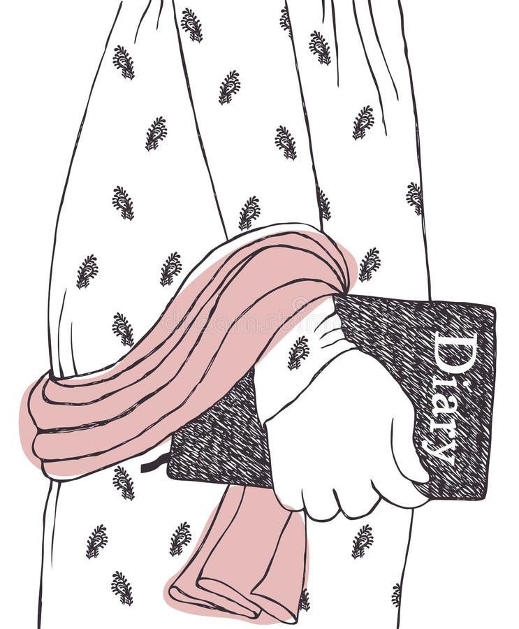 Diário romântico ilustração do vetor