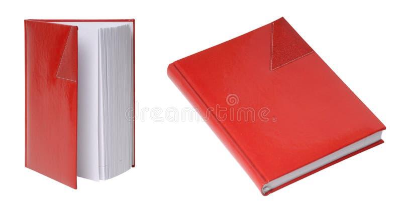 Diário vermelho na tampa de couro fotografia de stock