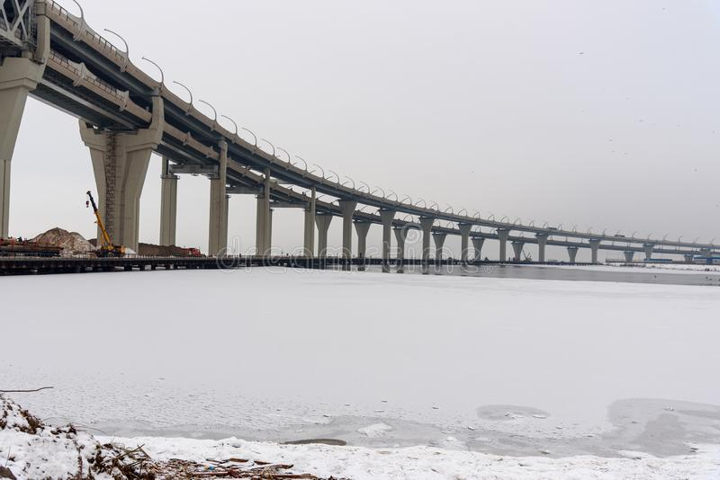 Diâmetro de alta velocidade ocidental no inverno St Petersburg Rússia, imagens de stock royalty free