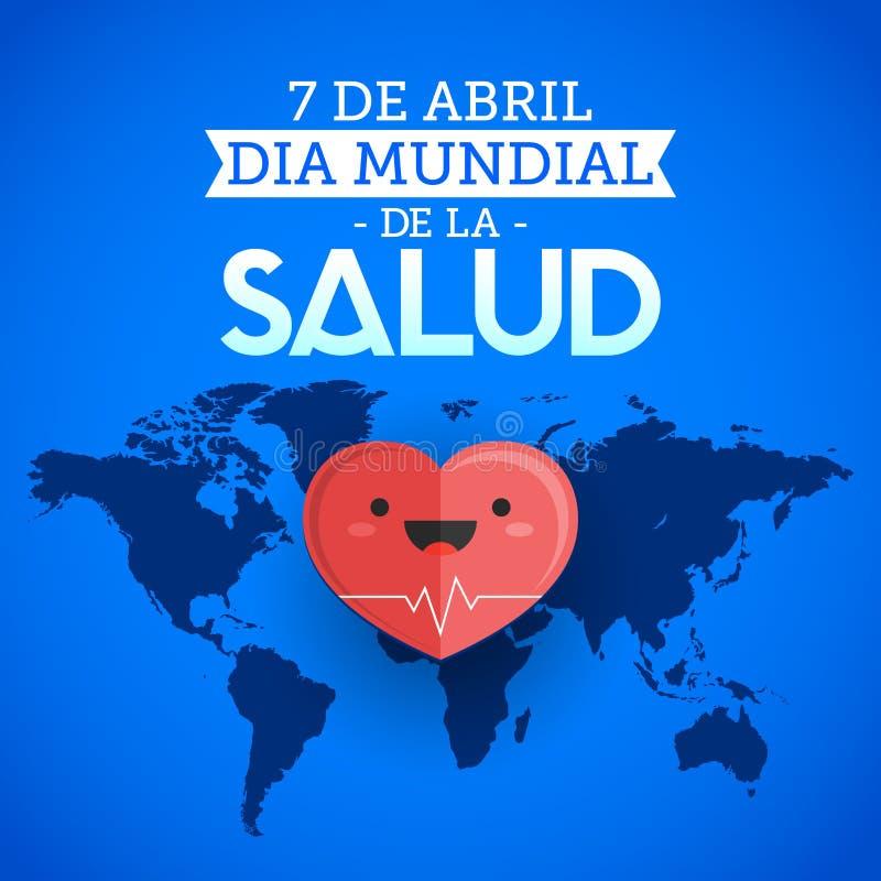 Diâmetro de mundial la Salud - o mundo saúde dia espanhol do 7 de abril text ilustração do vetor