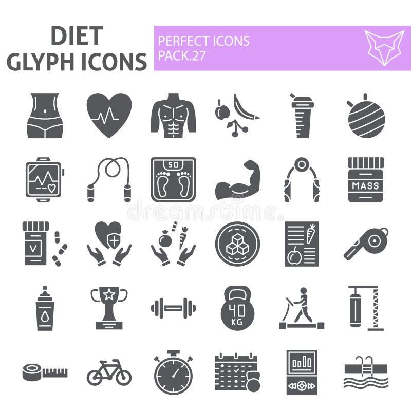 Diät Glyph-Ikonensatz, Sportsymbole Sammlung, Vektorskizzen, Logoillustrationen, festes Piktogrammpaket der Turnhallenzeichen stock abbildung