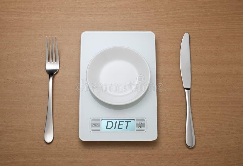Diät-Skala-Gewichtskontrolle lizenzfreies stockbild