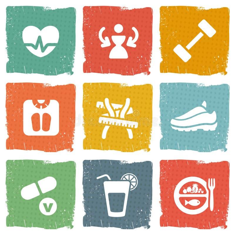 Diät- und Eignungsthemaikonen eingestellt lizenzfreie abbildung