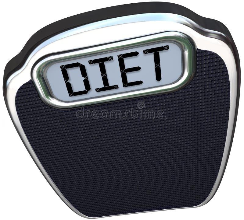 Diät-Wort auf Skala verlieren Gewicht essen kleiner lizenzfreie abbildung