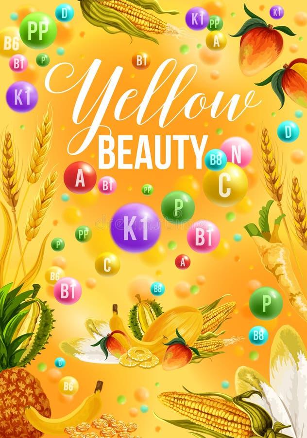 Diätfarbedetoxplakat für gelben Produkttag stock abbildung