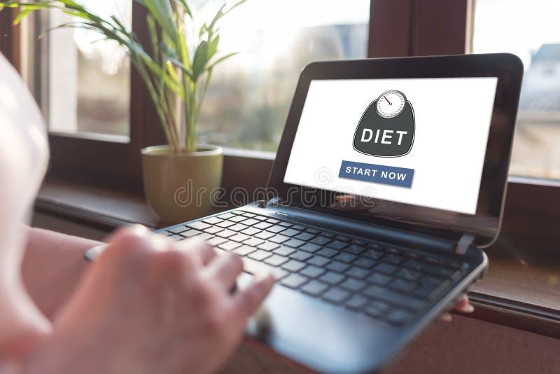 Diätkonzept auf einem Laptopschirm lizenzfreies stockbild