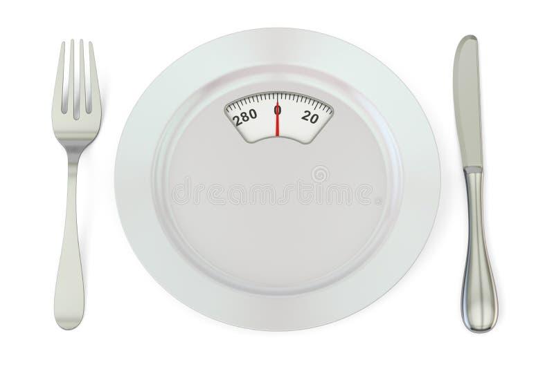 Diätmahlzeitkonzept Platte mit Gewichtsskala, Wiedergabe 3D stock abbildung