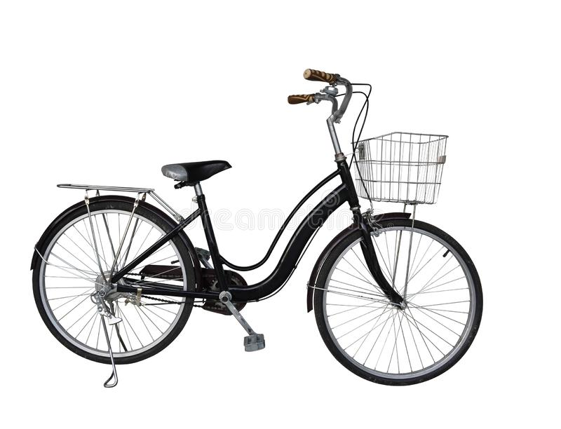 Di отрезали старый черный велосипед на белой предпосылке, предпосылке объекта, космосе экземпляра стоковые фото
