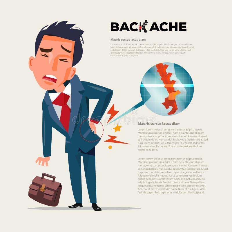 Di affari dell'uomo di sensibilità di dolore parte posteriore dentro Uomo d'affari che soffre dalla b illustrazione di stock