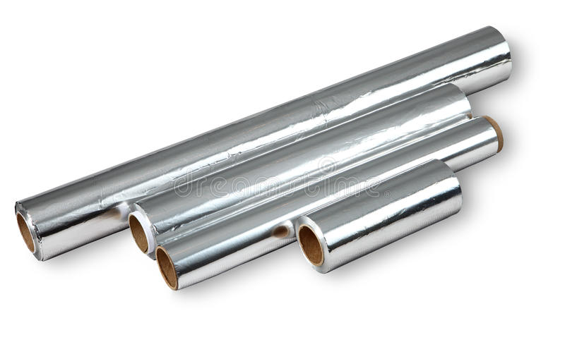 di alluminio per la cottura e la conservazione dell'alimento, quattro rotoli. immagine stock libera da diritti