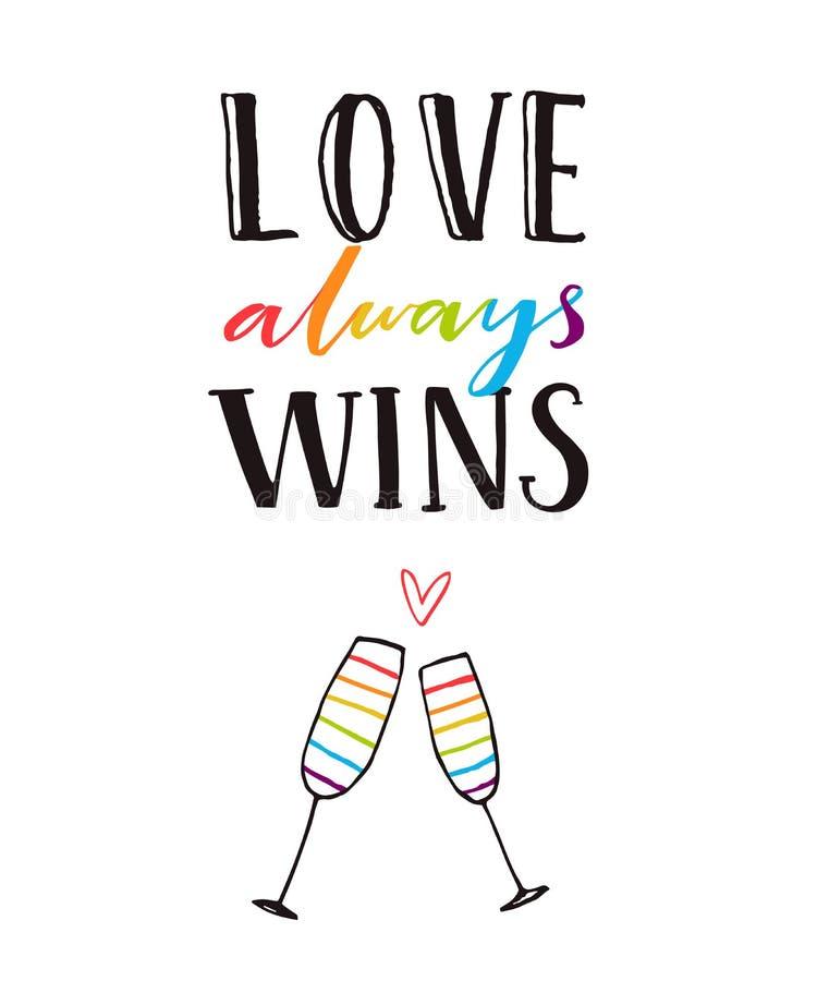 Di amore vittorie sempre Il manifesto romantico di citazione con disegnato a mano risuona i vetri Partecipazione di nozze gay, le royalty illustrazione gratis