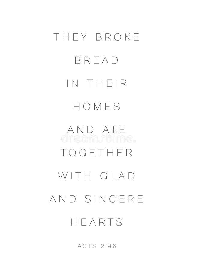 """2:46 di atti """"essi pane tagliato nelle loro case """" illustrazione di stock"""