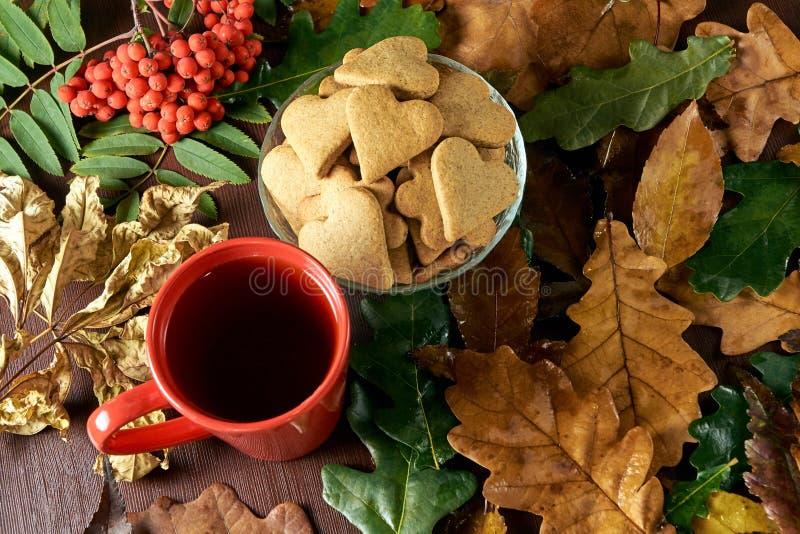 Di autunno vita ancora Biscotto del cuore Tè nero Filiale della sorba immagine stock
