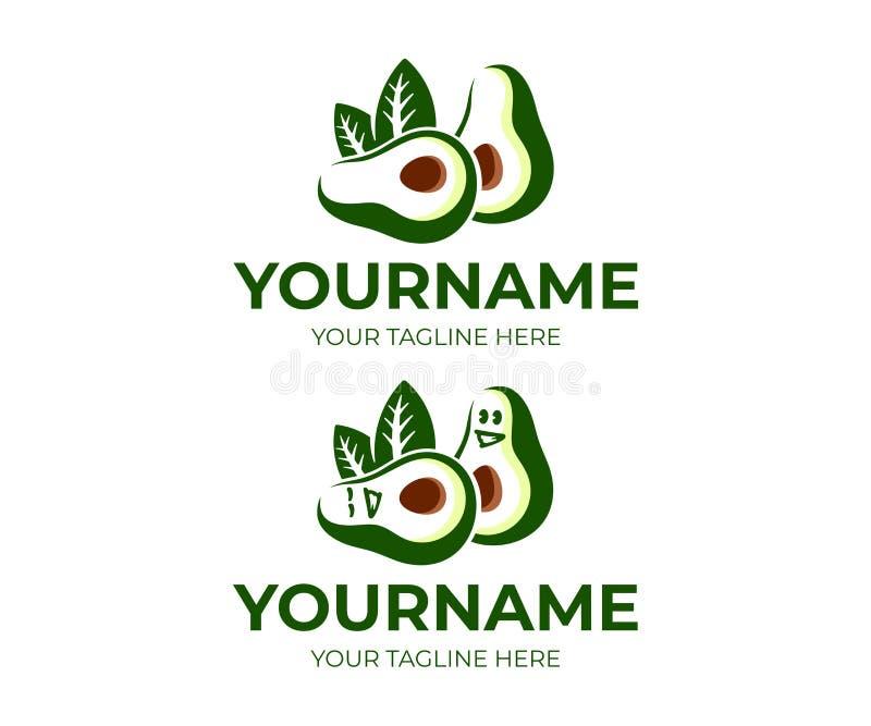 Di avocado e personaggio dei cartoni animati dell'avocado, progettazione di logo Alimento, mangiare e pasto vegetariano, progetta illustrazione vettoriale