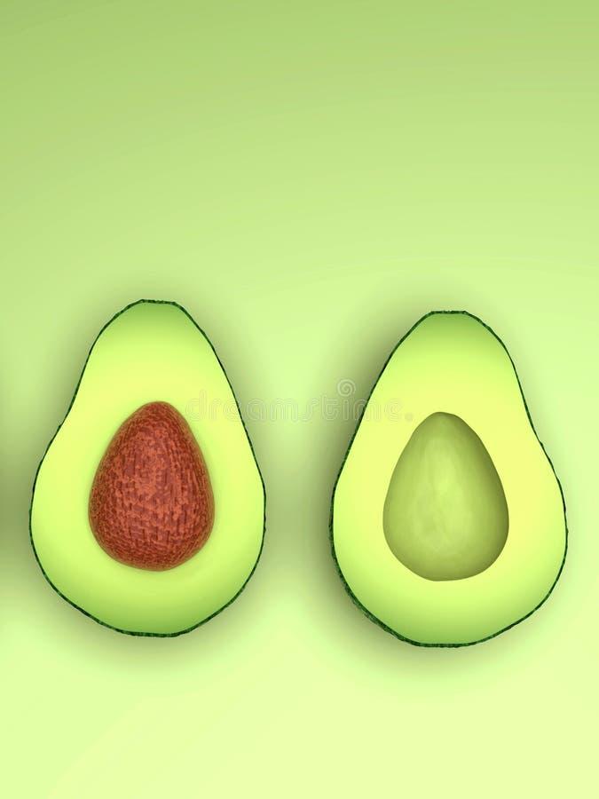 Di avocado verde sembrante fresco, taglio a metà, verticale royalty illustrazione gratis