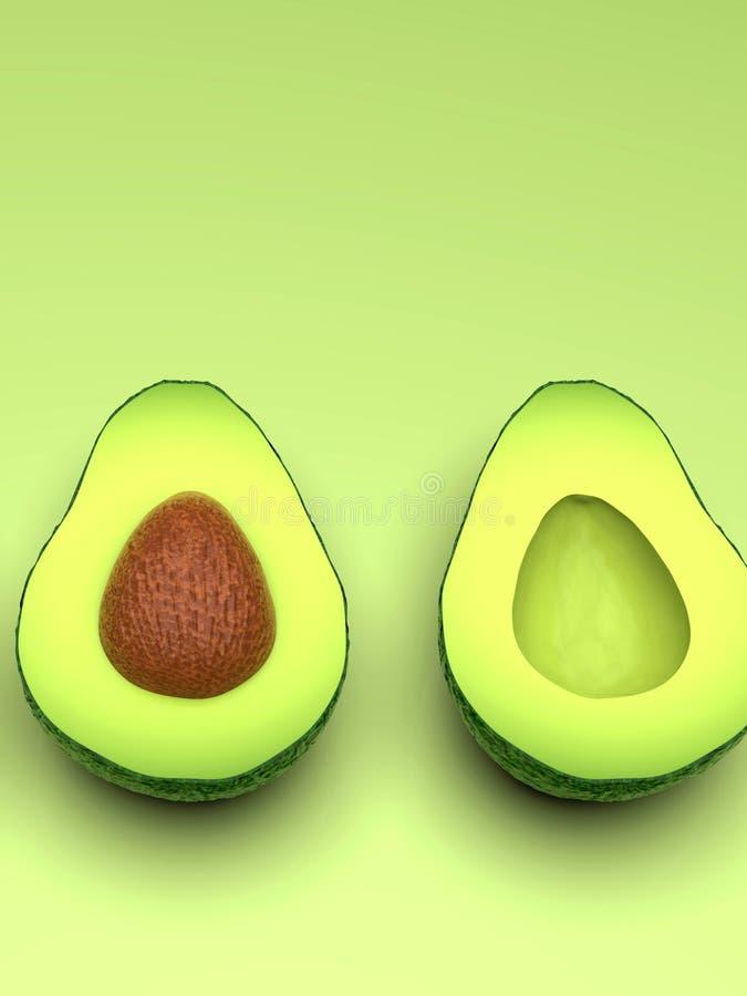 Di avocado verde sembrante fresco, taglio a metà, verticale illustrazione vettoriale