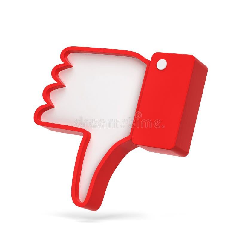 Di avversione del pollice simbolo della rete sociale giù illustrazione vettoriale