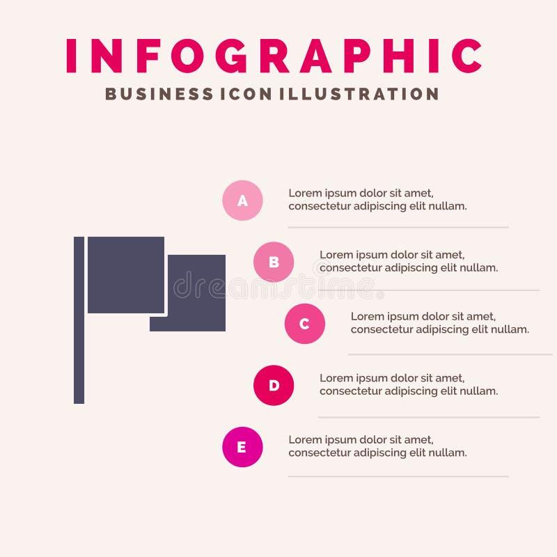 Di base, bandiera, fondo solido di presentazione di punti di Infographics 5 dell'icona di Ui illustrazione vettoriale