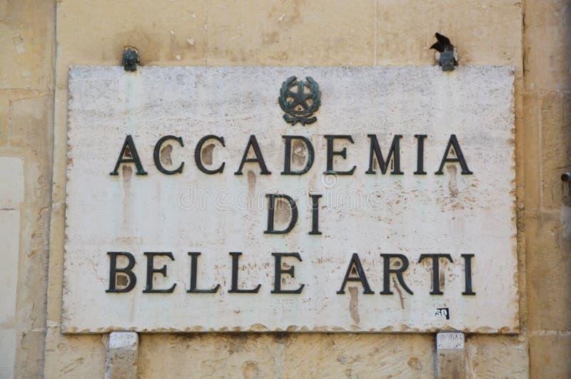 Di Belle Arti, Lecce, Italia de Accademia foto de archivo libre de regalías