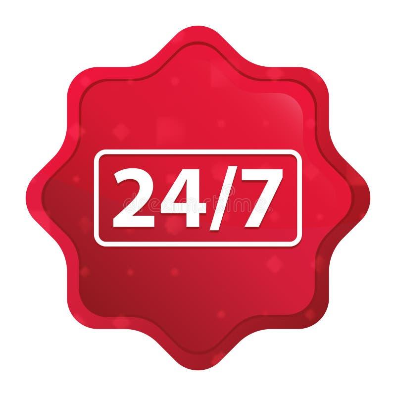 24/7 di bottone rosso rosa nebbioso dell'autoadesivo dello starburst dell'icona illustrazione di stock