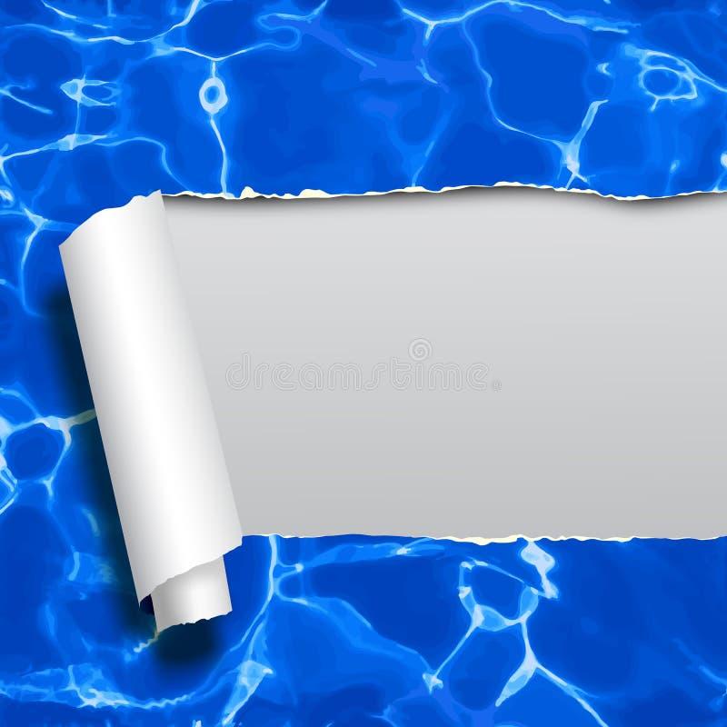 Di carta strappato con acqua blu che non rintraccia il backgr senza cuciture del modello illustrazione vettoriale