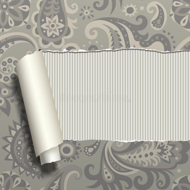 Di carta strappato con l'ornamento d'annata illustrazione vettoriale