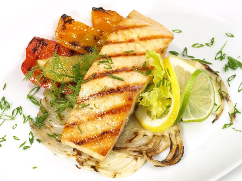 Di color salmone arrostito - filetto di pesce fotografia stock