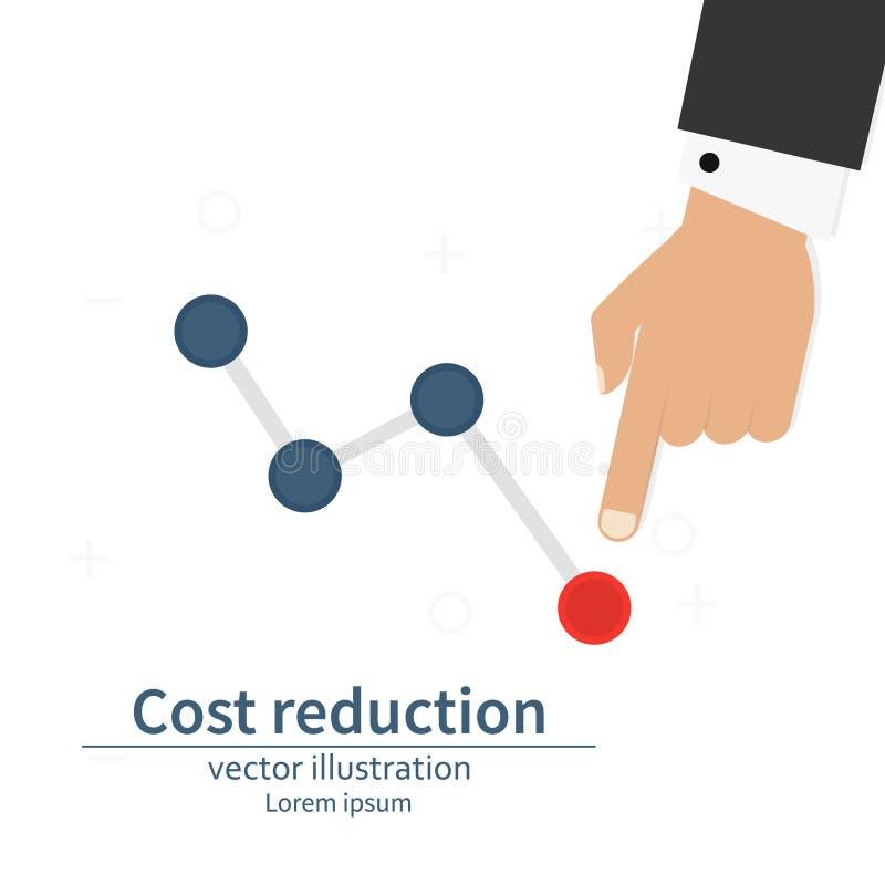 Di costo concetto di riduzione giù Costo giù L'uomo d'affari con la sua mano abbassa la freccia del grafico Illustrazione di vett illustrazione vettoriale