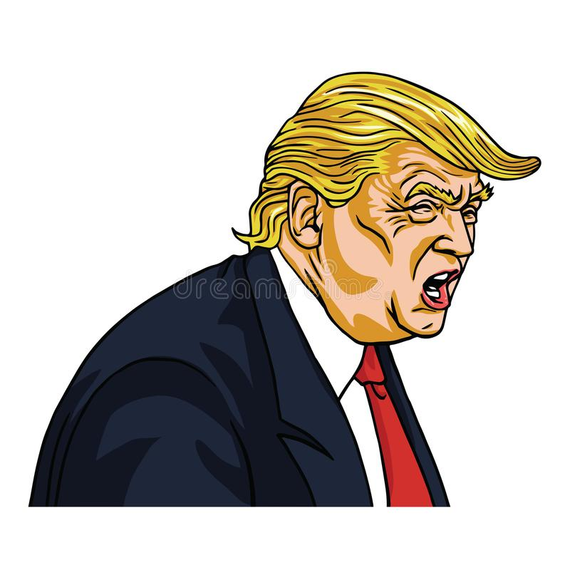 ` Di Donald Trump Shouting You con riferimento all'infornato a! Caricatura del fumetto di vettore 7 marzo 2018