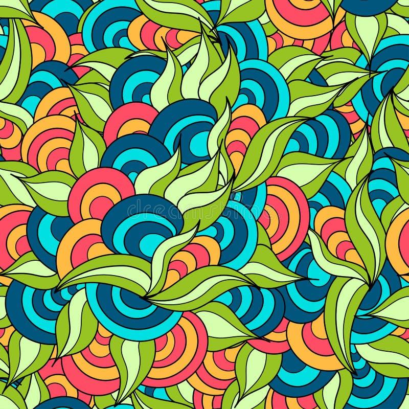 Di erbe disegnato a mano ed i cerchi hanno colorato il modello senza cuciture illustrazione di stock