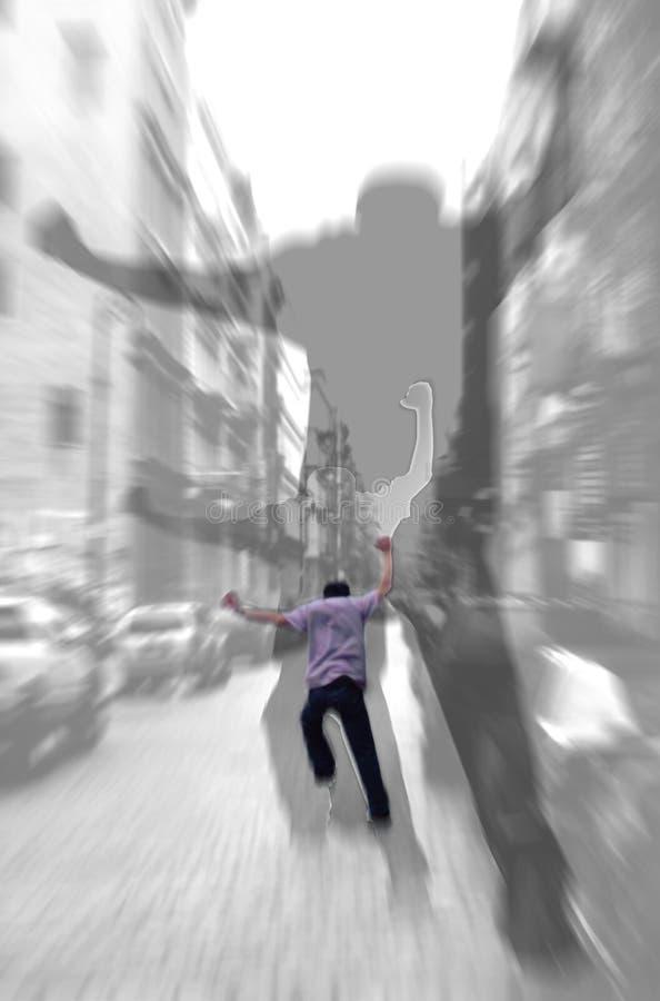 Di esecuzione ombre astratte via - immagine stock libera da diritti