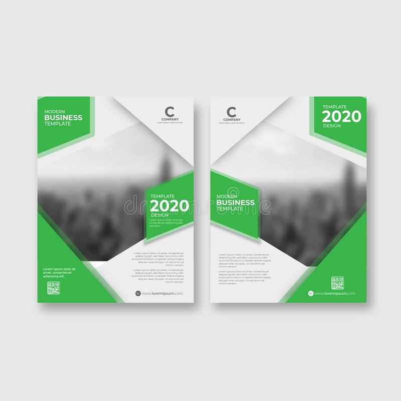 Di-fold Brochure green Abstract Template stock illustration