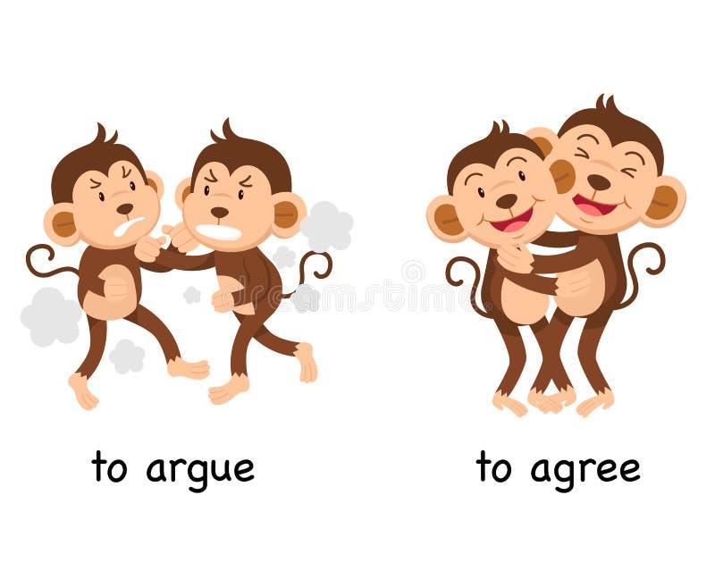 Di fronte a discuta e acconsentiree illustrazione vettoriale