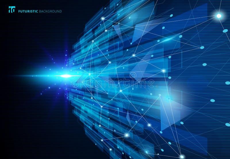 Di futuristes de concept virtuel bleu de technologie de molécules de résumé illustration stock