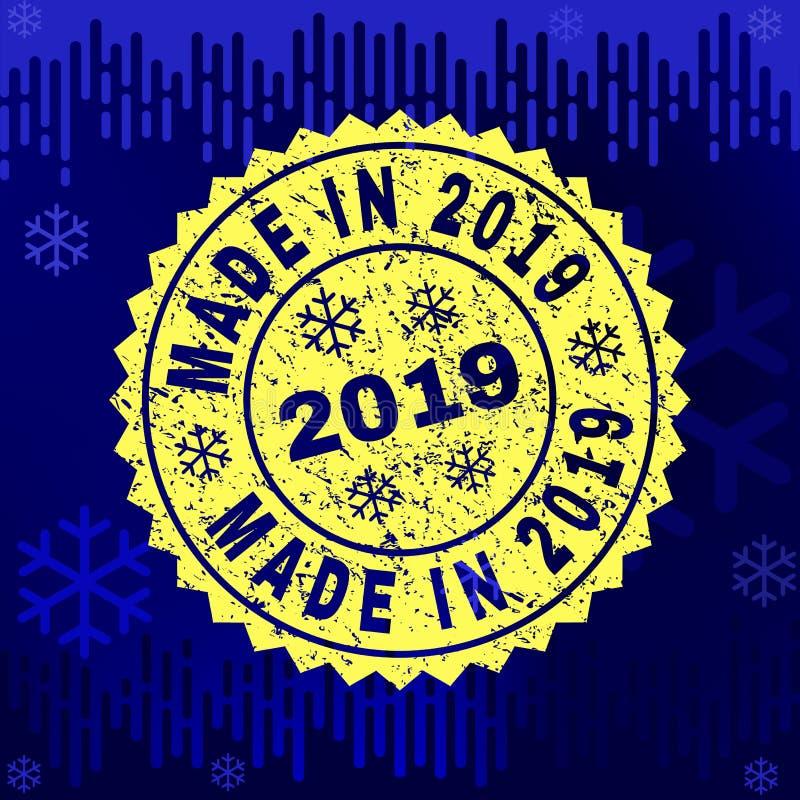 Di gomma FATTI NEL 2019 timbrano la guarnizione sul fondo dell'inverno illustrazione di stock