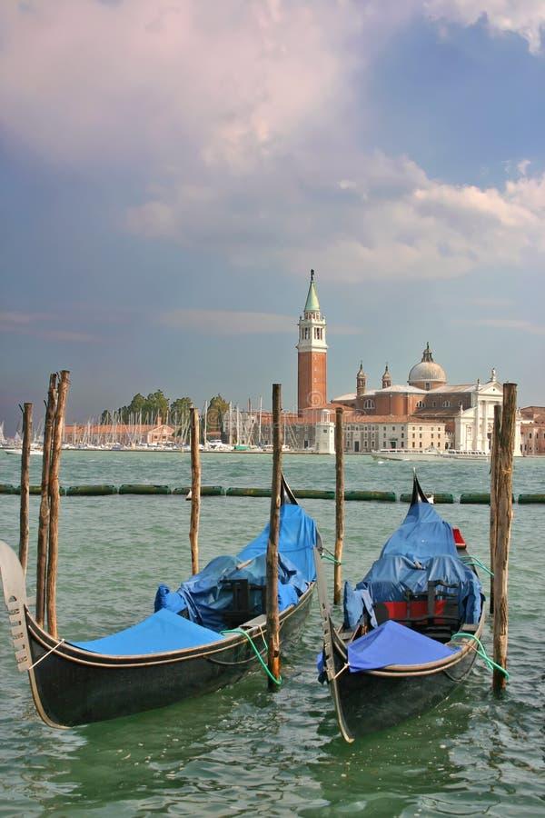 di gondolas marco piazzetta圣・威尼斯 免版税图库摄影