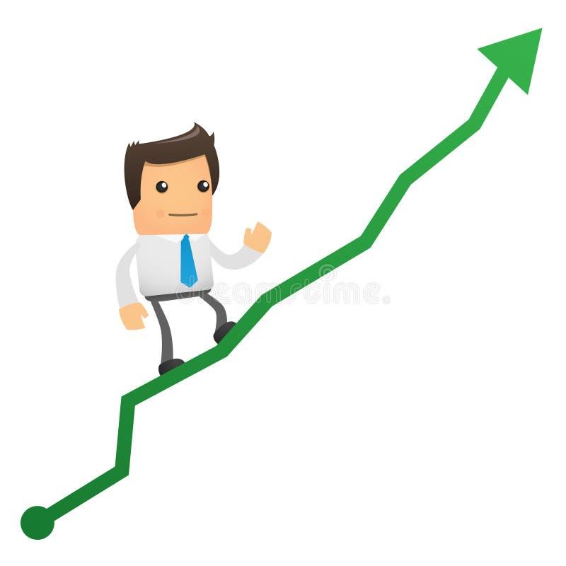 Di impiegato arrampica in su il diagramma illustrazione di stock