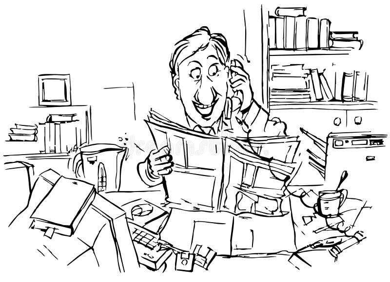 Di impiegato parla sul telefono royalty illustrazione gratis