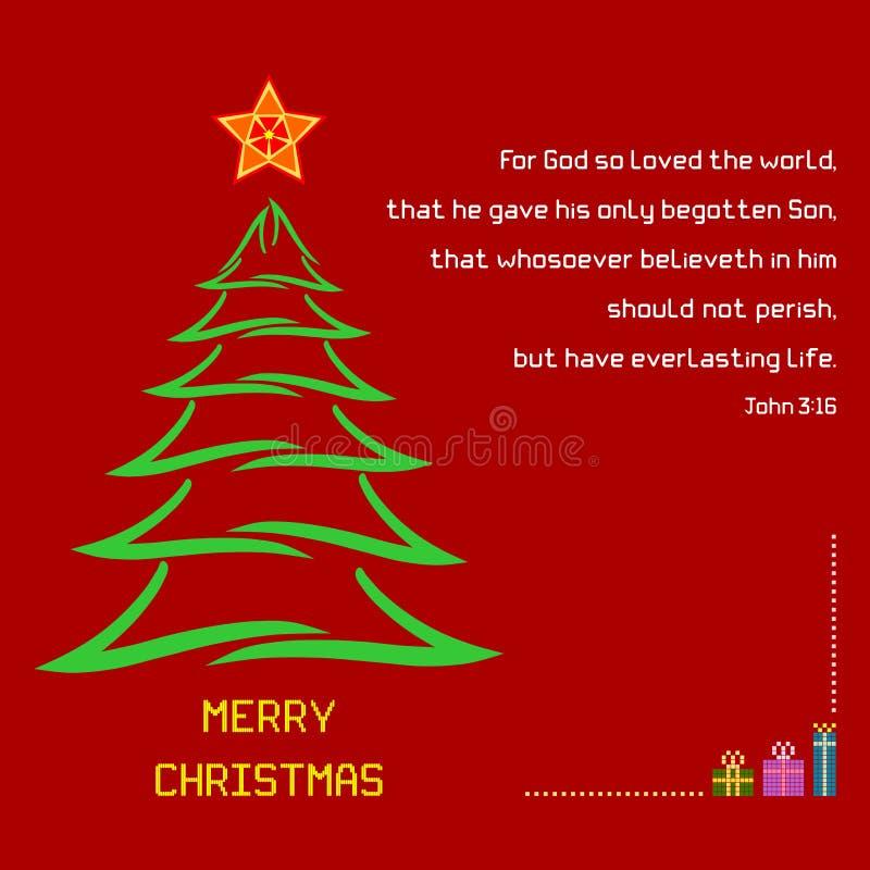 3:16 di John di verso della bibbia santa di Natale illustrazione vettoriale