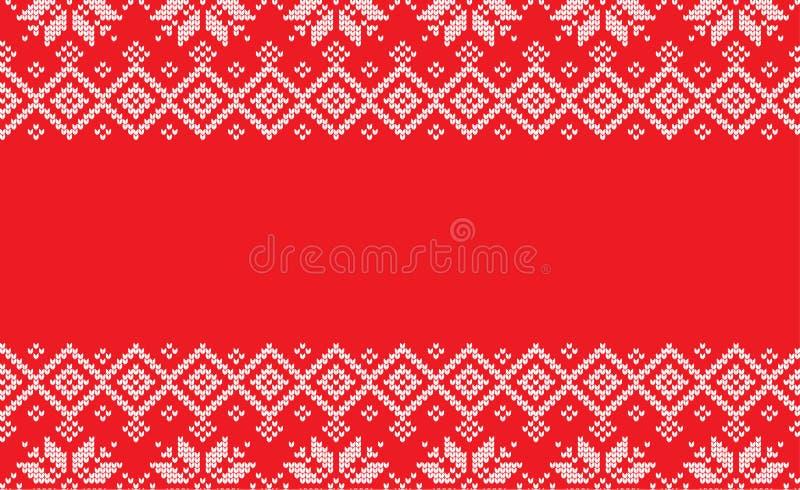 Di lana del modello tricottato Natale festivo di inverno tricottato illustrazione di stock